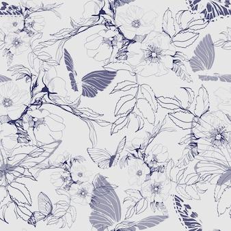 Motif floral sans couture avec une branche fleurie d'une rose sauvage, avec des papillons. illustration vectorielle