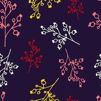 Motif floral sans couture dans le style d'art en ligne impression botanique abstraite de fleurs laisse des brindilles