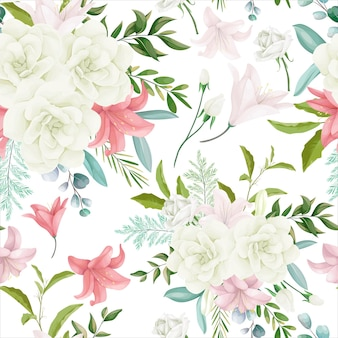 Motif floral sans couture élégant avec une belle fleur et des feuilles de dessin à la main