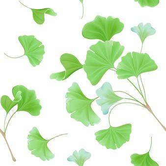 Motif floral sans couture avec des feuilles de gingko biloba japonais réalistes, texture vert pastel vintage pour la conception, impression de tissu, papier peint en vecteur