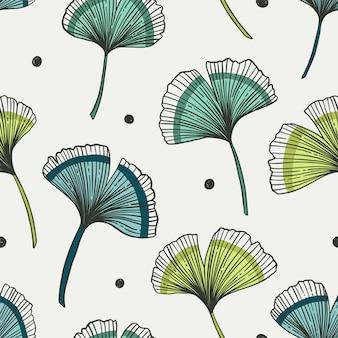Motif floral sans couture avec des feuilles de ginkgo. illustration.