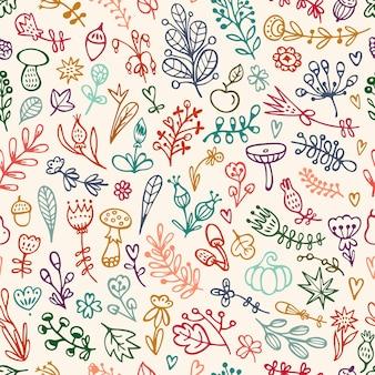 Motif floral sans couture avec fleurs, branches et feuilles de griffonnages