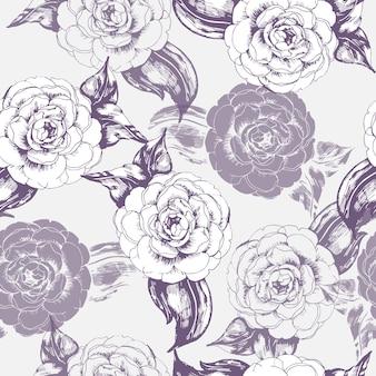 Motif floral sans couture avec des fleurs de camélia. illustration vectorielle.