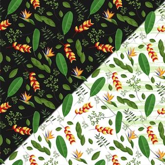 Motif floral sans couture avec fleurs et feuillages tropicaux