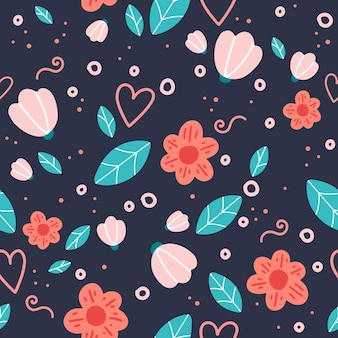 Motif floral sans couture avec fleurs et feuilles de doodle.