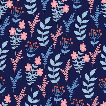 Motif floral sans couture avec des fleurs et des feuilles