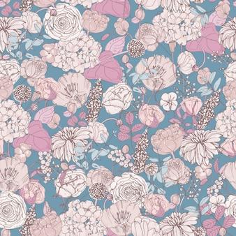 Motif floral sans couture avec des fleurs, fond vintage.