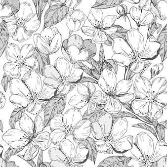 Motif floral sans couture avec des fleurs de pommier.