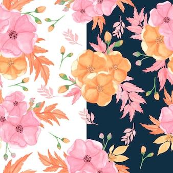 Motif floral sans couture avec des fleurs roses et orange
