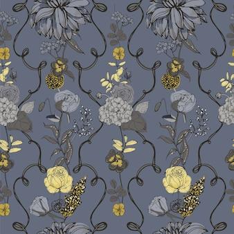 Motif floral sans couture avec des fleurs, style vintage