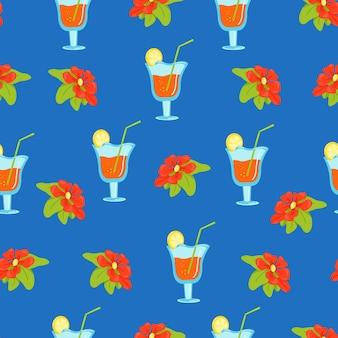 Motif floral sans couture avec des fleurs tropicales et des cocktails dans des verres à vin, impression vectorielle à plat