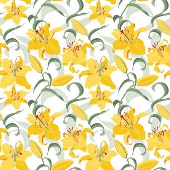 Motif floral sans couture avec des lis jaunes