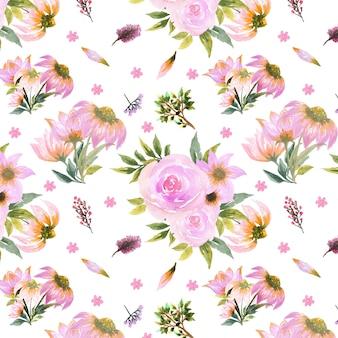 Motif floral sans couture avec marguerite et fleurs roses