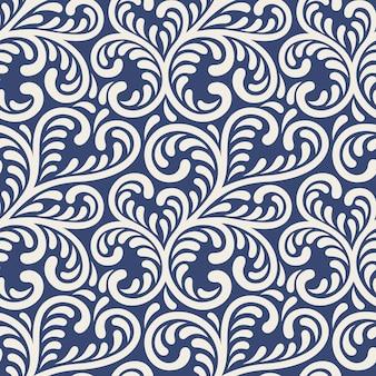 Motif floral sans couture d'ornement. illustration abstraite élégante sur fond bleu.