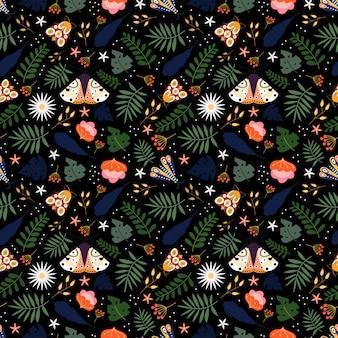 Motif floral sans couture avec plantes, fleurs et papillon dans le fond noir
