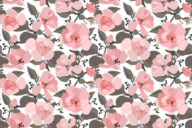 Motif floral sans couture avec une rose chinoise