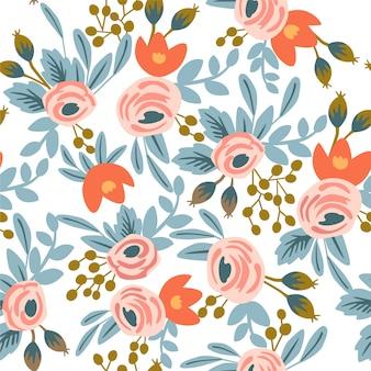 Motif floral sans couture avec roses et feuilles.