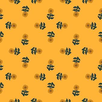 Motif floral sans couture de style géométrique avec tournesol fleuri