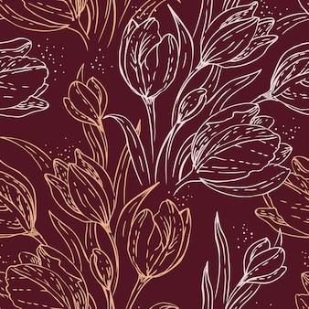 Motif floral sans couture avec des tulipes