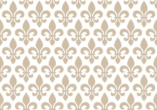 Motif floral sans faille beige et blanc avec lys royal