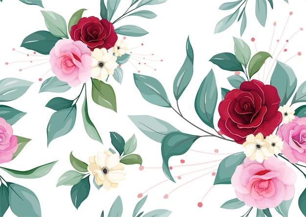 Motif floral sans soudure de bourgogne, fard à joues, rose pourpre, fleur d'anémone blanche et feuilles sur fond blanc