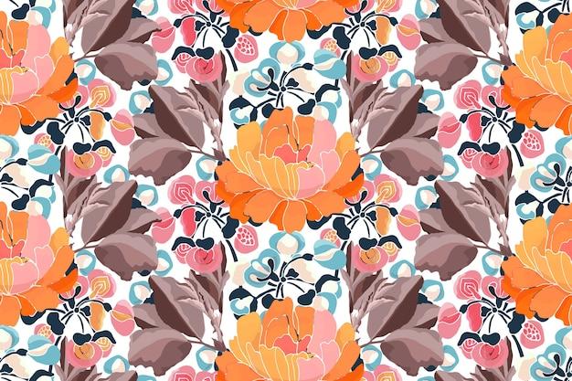 Motif floral sans soudure. fleurs et feuilles brunes isolées, couleurs d'automne
