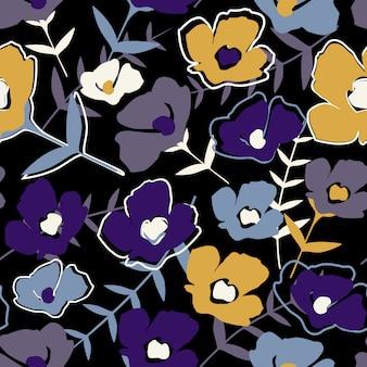 Motif floral sans soudure folk sur fond noir