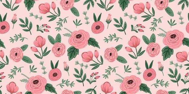 Motif floral sans soudure folklorique. conception abstraite moderne pour le papier, la couverture, le tissu, le rythme et d'autres utilisateurs