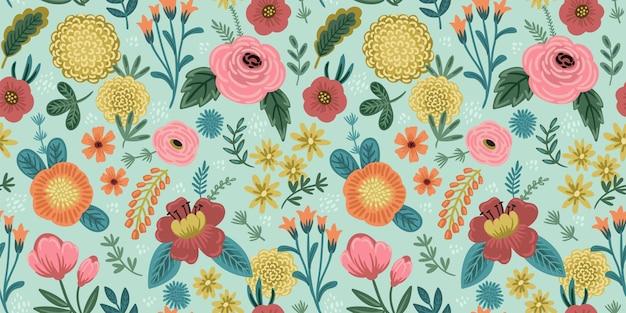 Motif floral sans soudure folklorique. conception abstraite moderne