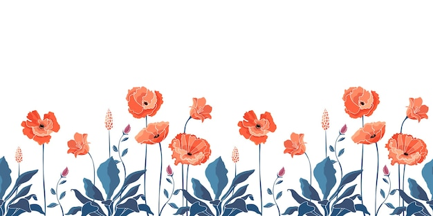 Motif floral sans soudure, frontière. fleurs de pavot de californie