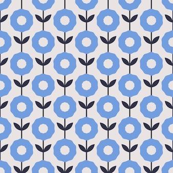 Motif floral sans soudure. modèle dessiné à la main dans une couleur bleue classique avec un design de fleurs décadentes.