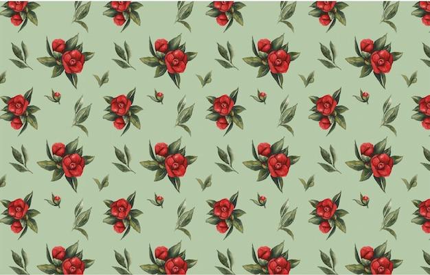 Motif floral sans soudure de vecteur aquarelle