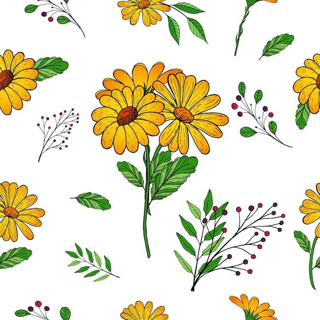 Motif floral sans soudure de vecteur