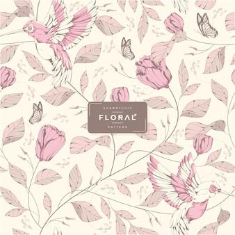 Motif floral shabby chic dessiné à la main
