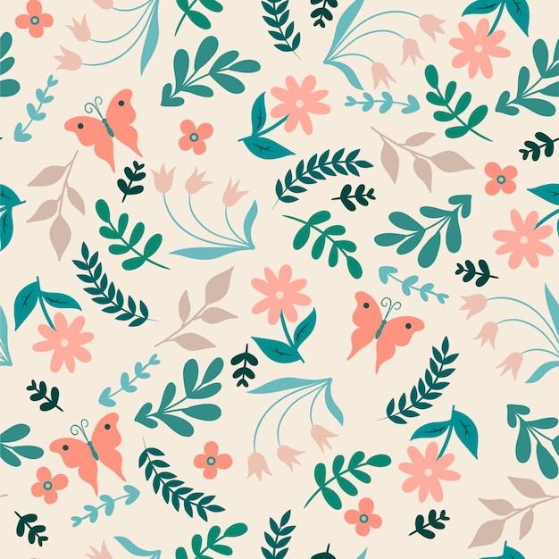 Motif floral simple sans couture avec des fleurs et des papillons