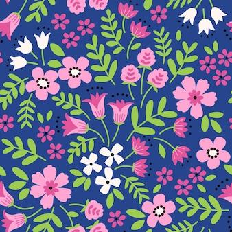Motif floral tendance vectorielle continue impression transparente fleurs roses modernes fond bleu