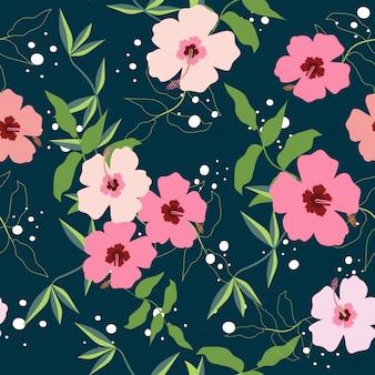 Motif floral transparente printemps tropical coloré