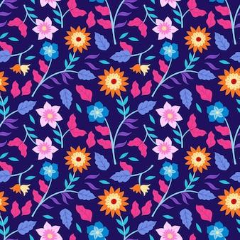 Motif floral tropical peint à la main coloré