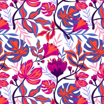 Motif floral tropical peint à la main coloré