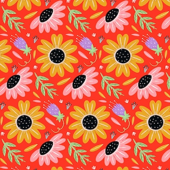 Motif floral tropical peint