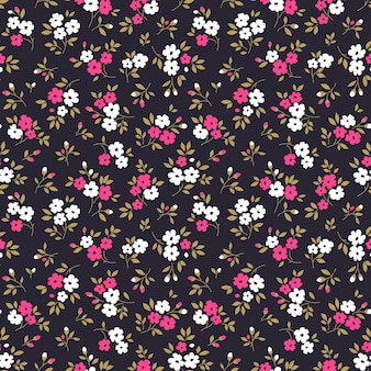 Motif floral de vecteur ditsy impression transparente petites fleurs roses et blanches fond violet foncé