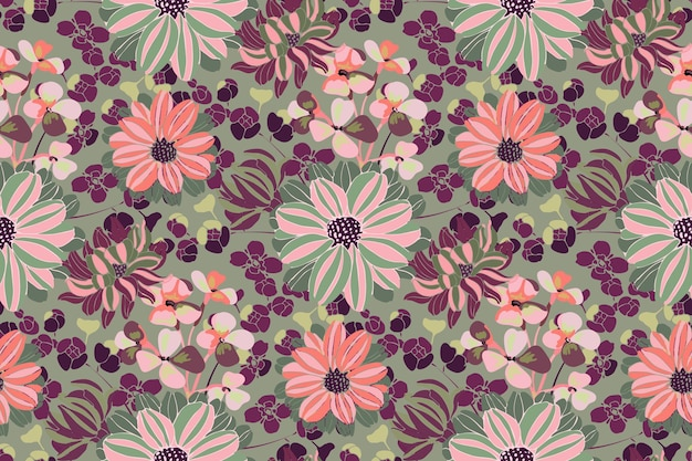 Motif floral de vecteur. fleurs de jardin rose, violet, vert, branches et feuilles isolées sur fond d'olive. beaux chrysanthèmes pour tissu, conception de papier peint, textile de cuisine, bannières, cartes.