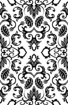 Motif floral de vecteur. ornement abstrait en filigrane. modèle noir et blanc pour textile, tapis.