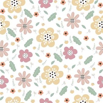 Motif floral vector avec fleurs et feuilles