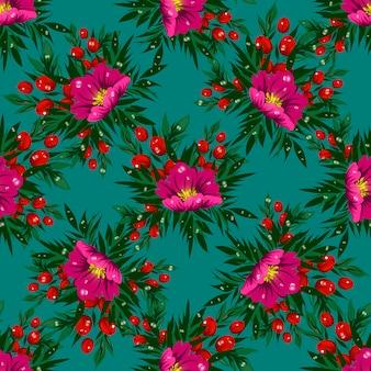 Motif floral vectorielle continue avec des fleurs tropicales