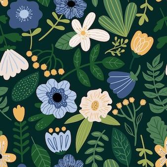 Motif floral vectorielle continue sur fond sombre illustration botanique avec des plantes
