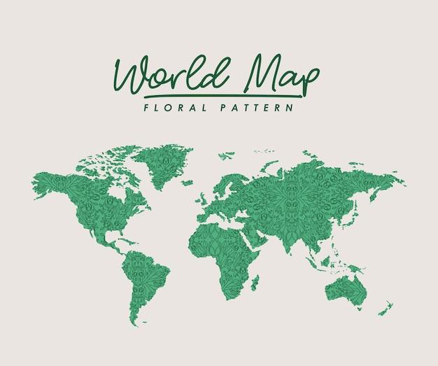 Motif floral vert carte du monde sur fond blanc