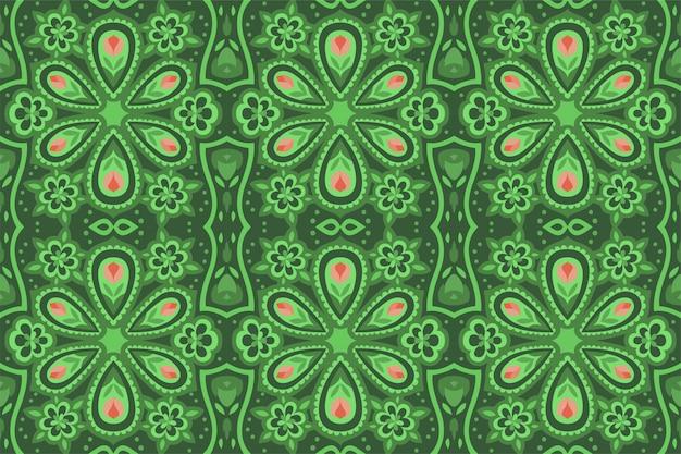 Motif floral vert sans couture avec fleurs roses