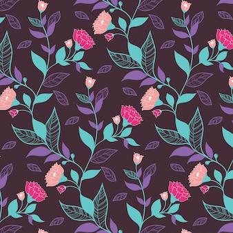 Motif floral violet foncé avec des feuilles et des fleurs roses pour papier d'emballage