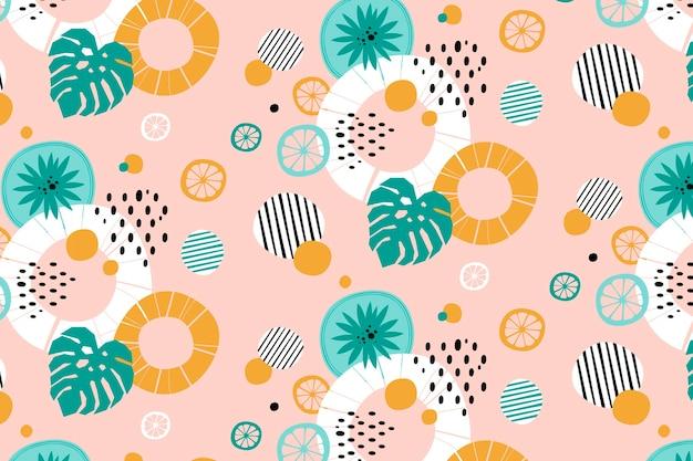 Motif de fond abstrait lignes et points d'été